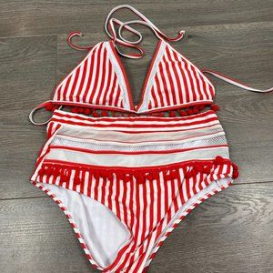 Preppy White & Red Striped Swimsuit